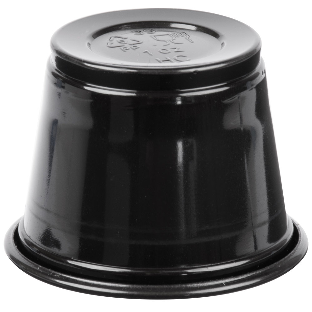 EaMaSy Party  1 oz.   Black Plastic Souffle Cup /Portion Cup