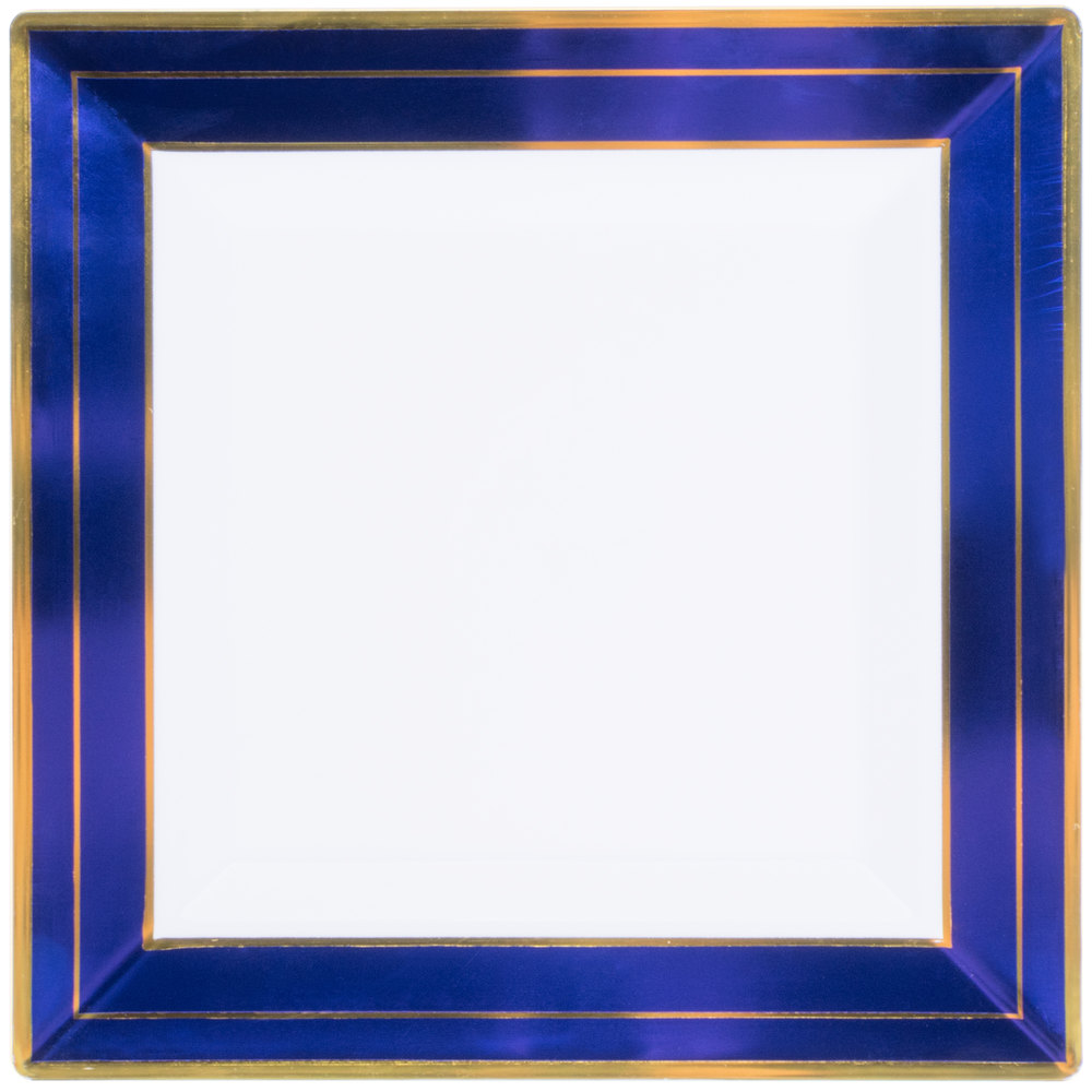 EaMaSy Party 10''Square White Plastic Plate with Blue Rim and Gold Bands