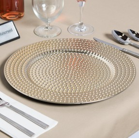 "EaMaSy Party 13"" Round Gold Beaded Polypropylene Charger Plate"