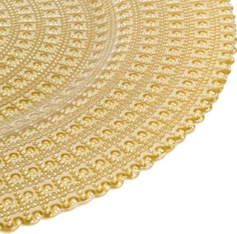 "EaMaSy Party 13"" Round Gold Tripoli Glass Charger Plate"