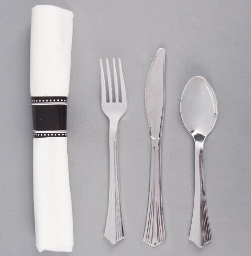 "EaMaSy Party   17"" x 17"" Pre-Rolled Linen-Feel White Napkin and Silver Heavy Weight Plastic Cutlery"