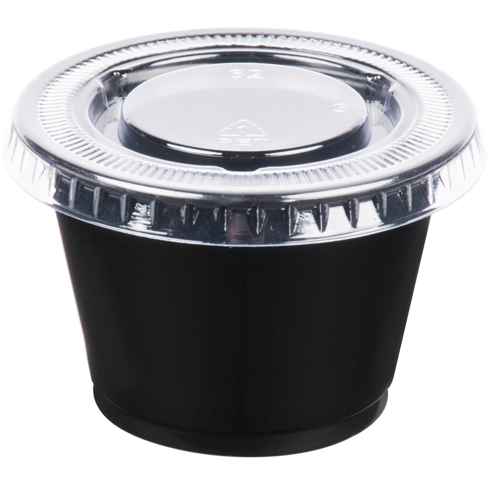 EaMaSy Party  2.5 oz.   Black Plastic Souffle Cup /Portion Cup with Lid