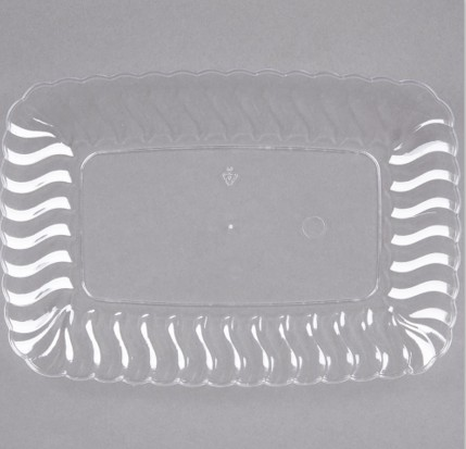 "EaMaSy Party Clear 5"" x 7"" Plastic Snack Tray"