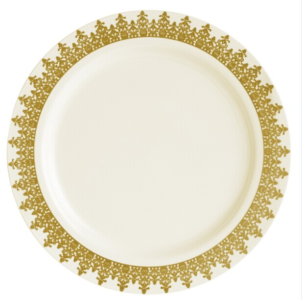 "EASY PARTY 10.25"" Ornament Plastic Ivory And Gold Dinner Plates"