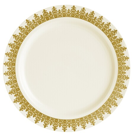 "EASY PARTY 9"" Ornament Plastic Ivory And Gold Dinner Plates"