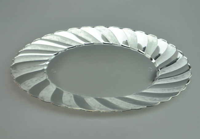 "Easy Party  9X12"" OVAL SILVER PLASTIC DINNER PLATE"