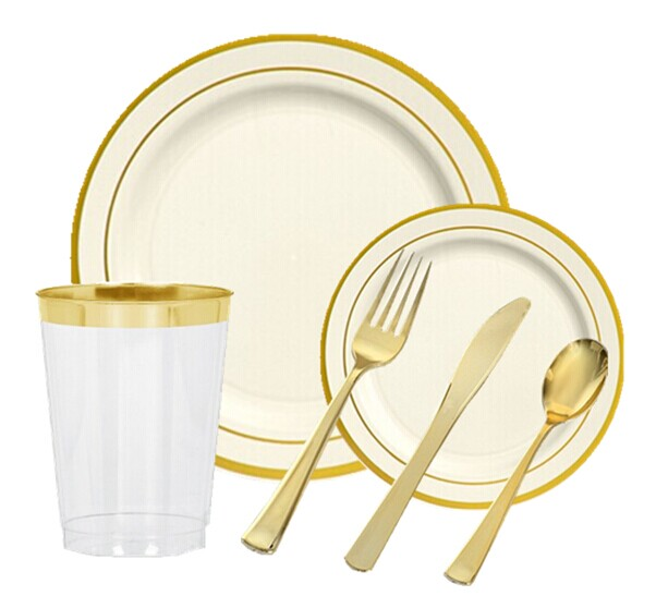 EASY PARTY Bone With Gold Edge Tableware - Grand Wedding Package  sc 1 st  ideal-household.com & EASY PARTY Bone With Gold Edge Tableware - Grand Wedding Package ...