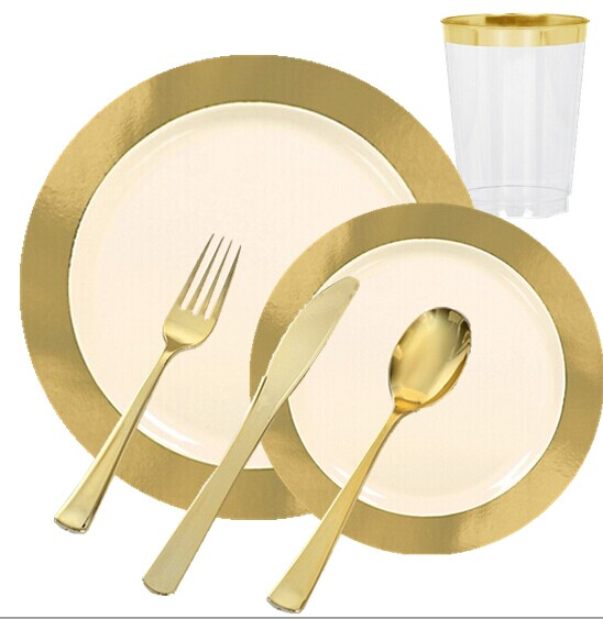 EASY PARTY Cream Gold Border Premium Tableware - Grand Wedding Package  sc 1 st  ideal-household.com & EASY PARTY Cream Gold Border Premium Tableware - Grand Wedding ...