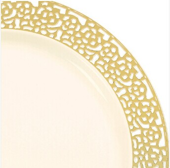 "Easy Party Decor China-Like Inspiration 7.25"" White-Gold Plastic Plates"