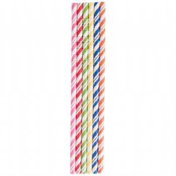 EaMaSy Party  0.25''X7.75''  Jumbo Flexible Assorted Paper Straws