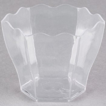 EaMaSy Party 1.75 oz. Clear Plastic Tiny Hexagon Cube Bowl