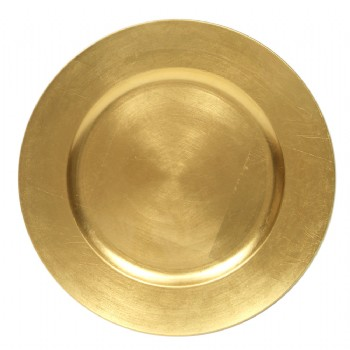 EaMaSy Party 13 '' Round Gold Polypropylene Charger Plate