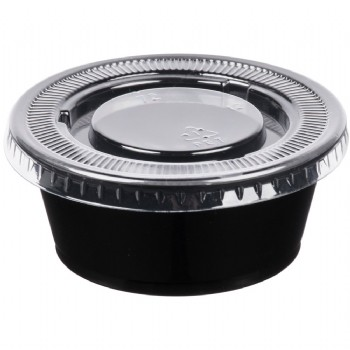 EaMaSy Party  3.25 oz.   Black Plastic Souffle Cup /Portion Cup with Lid