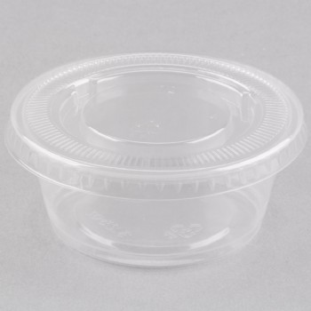 EaMaSy Party  3.25 oz.Clear  Plastic Souffle Cup / Portion Cup with LId