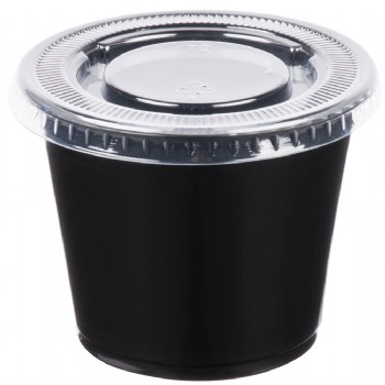 EaMaSy Party  5.5 oz.   Black Plastic Souffle Cup /Portion Cup with Lid