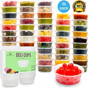 EaMaSy Party 50PCS Microwavable Translucent Plastic Deli Container With LID