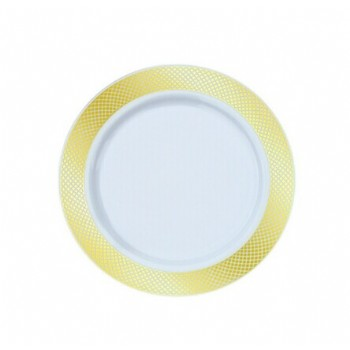 EaMaSy Party 6'' White Plastic Plate with Gold Lattice Design