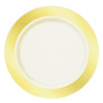 EaMaSy  Party  DECOR CHINA-LIKE CRYSTAL 10.25'' CREAM-GOLD PLASTIC PLATE
