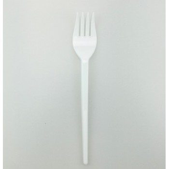 EaMaSy Party   Medium Weight White Plastic Fork