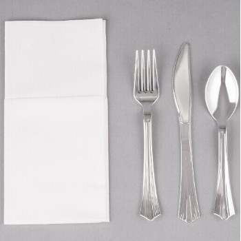 EaMaSy Party  Silver Heavy Weight Plastic Cutlery Set with White Linen-Feel Napkin