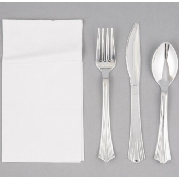 EaMaSy Party Visions Silver Heavy Weight Plastic Cutlery Set with White Pocket Fold Napkin