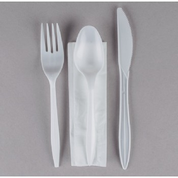 EaMaSy  Party   Wrapped Medium Weight  Plastic Cutlery Set with Napkin