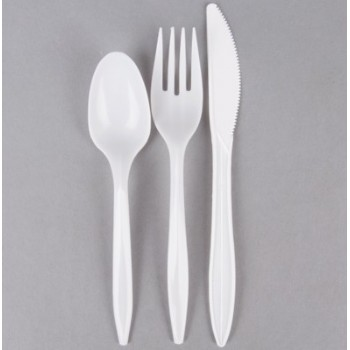 EaMaSy  Party   Wrapped Medium Weight White Plastic Cutlery Set with Knife, Fork, and Spoon