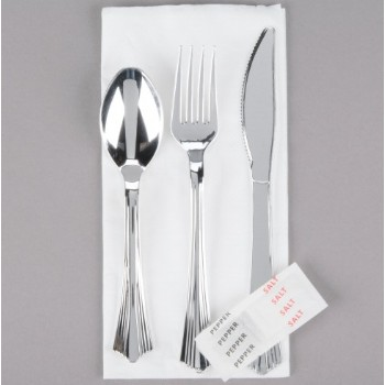 EaMaSy  Party   Wrapped Silver Heavy Weight Plastic Cutlery Set with Napkin & Salt & Pepper Packets