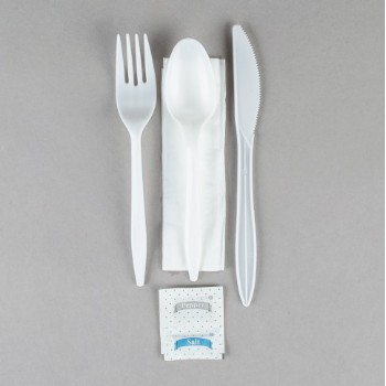EaMaSy  Party   Wrapped White Medium Weight Plastic Cutlery Pack with Napkin  Salt / Pepper Packets