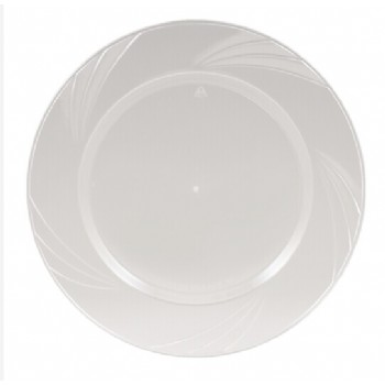 EASY PARTY 10.25'  Upscale Plastic Clear Dinner Plates Accented With a Swirled Fan Pattern