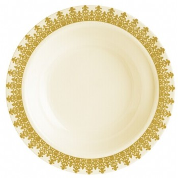 EASY PARTY  12 Oz. Ornament Ivory With Gold Design Soup Bowl