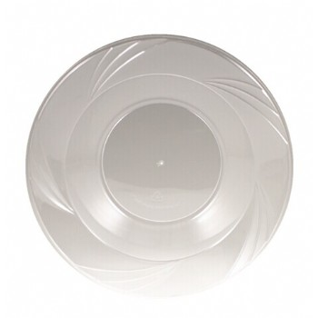 EASY PARTY 12OZ  Upscale Plastic Clear Salad Bowl Accented With a Swirled Fan Pattern