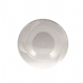 EASY PARTY 5 OZ  Upscale Plastic Clear Salad Bowl Accented With a Swirled Fan Pattern