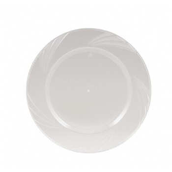 EASY PARTY 7.5'  Upscale Plastic Clear Salad Plates Accented With a Swirled Fan Pattern