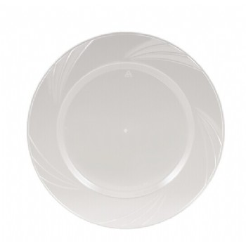 EASY PARTY 9'  Upscale Plastic Clear Dinner Plates Accented With a Swirled Fan Pattern