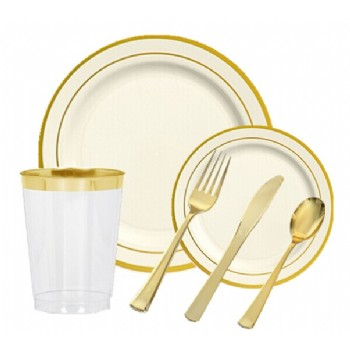 EASY PARTY Bone With Gold Edge Tableware - Grand Wedding Package