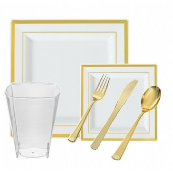 EASY PARTY Plastic Square Splendor Gold-Bone