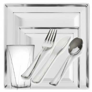 EASY PARTY Plastic Square Splendor Silver-White