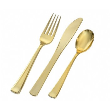 GOLD SEECRETS POLISHED GOLD PLASTIC CUTLERY SETS
